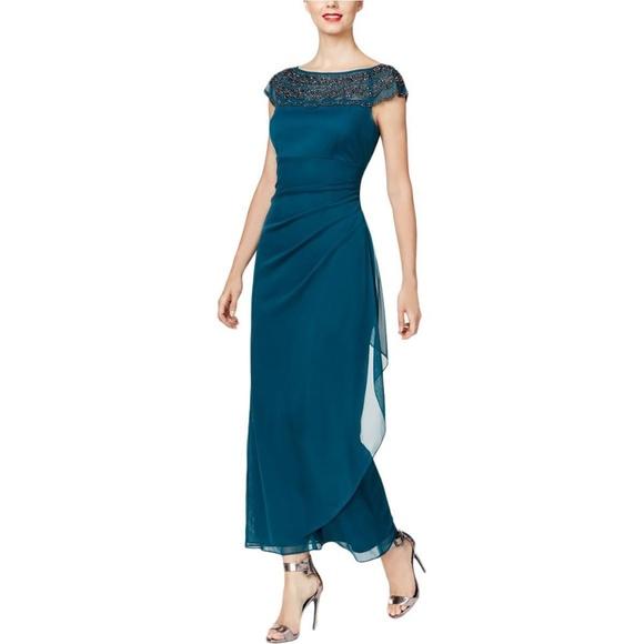 70bb9009c12 MSK Women s Embellished Cap Sleeve Chiffon Dress. M 5ae2600f85e6058ea44f35d2